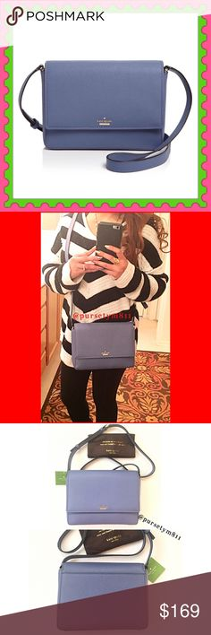 "Authentic Kate Spade Leather Handbag 💯AUTHENTIC. Beautiful oysterblue color leather handbag from Kate Spade. Lightweight & very spacious. Bag approximate measurements: 9"" x 6"" x 2.5"" Crossbody & shoulder bag w/ adjustable long strap. Pockets inside & 1 back exterior compartment. New w/ tag & dust bag. NO TRADE ❌ kate spade Bags"