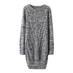SheIn(sheinside) Cable Knit Long Pale Grey Pullover Fairisle Sweater (€18) ❤ liked on Polyvore featuring tops, sweaters, dresses, jumper, grey, light grey sweater, long gray sweater, gray sweater, long sleeve pullover and fair isle sweater