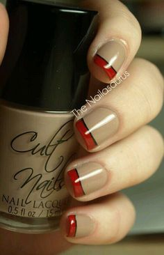 Fingernails tan with red trim