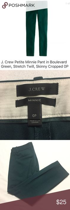"""J. Crew Petite Minnie Pant in Stretch Twill Green J. Crew Petite Minnie Pant in Stretch Twill. Color- Boulevard Green. NO rips, holes or stains.   Size on tag: 0P Measures approximately: 14"""" measured flat across the waist  22.5"""" inseam Here's more info. from J. Crew: Style# 24645 size & fit Sits just above hip. Fitted through hip and thigh, with a slim, cropped leg. Product details: It's called the """"magic pant"""" around the office for a reason: It's sleek, chic and slim fitting, with an…"""