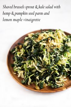 Shaved Brussels Sprout and Kale Salad with Lemon Maple Dressing and Hemp and Pumpkin Seed Parmesan   A flavorful #vegan #glutenfree fall salad -- perfect for holiday entertaining   The Full Helping