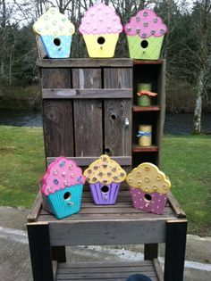 CUPCAKE BIRDHOUSES Like our Facebook page! https://www.facebook.com/pages/Rustic-Farmhouse-Decor/636679889706127