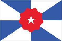 """ALABAMA: The symbol of Dixie in the middle is surrounded by eight triangles representing the eight Native American tribes who used to live there. The triangles also form a subtle """"X"""" shape, referencing the existing Alabama flag."""