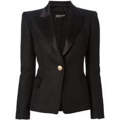 BALMAIN peaked lapel blazer (7.010 BRL) ❤ liked on Polyvore featuring outerwear, jackets, blazers, balmain, coats & jackets, long sleeve blazer, long sleeve jacket, peak lapel blazer and balmain jacket