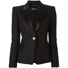 BALMAIN peaked lapel blazer (£1,519) ❤ liked on Polyvore featuring outerwear, jackets, blazers, balmain, coats & jackets, peak lapel jacket, peak lapel blazer, long sleeve blazer and balmain blazer