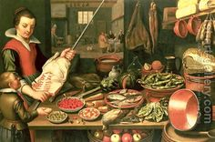 Kitchen Interior with a Maid By Floris Gerritsz. van Schooten c. 1590-after 1655:
