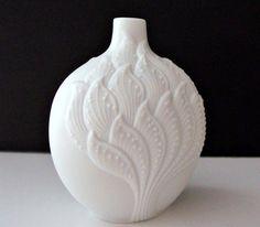 White Porcelain Bisque Kaiser Vase Signed M Frey