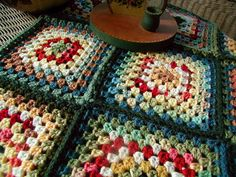 autumn colours granny squares crochet blanket