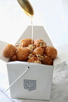 greek recipe, greek version donuts with honey and nuts