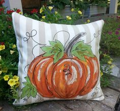 New Pillow Cover Hand-painted Pumpkin Tan and by SippingIcedTea Fabric Pumpkins, Painted Pumpkins, Fall Pumpkins, Pumpkin Pillows, Fall Pillows, Autumn Painting, Autumn Art, Fall Halloween, Halloween Crafts