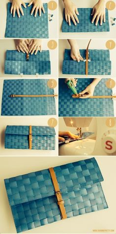 DIY clutch handbag from woven table mat Diy Clutch, Diy Purse, Clutch Bag, Pochette Diy, Sewing Crafts, Sewing Projects, Diy Sac, Diy Handbag, Ideias Diy