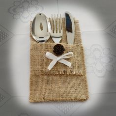 SET OF 30 Burlap Silverware Holders with pine cone and white ribbon on Etsy, $60.00