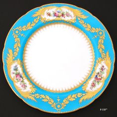 Fine Antique Minton Cabinet Plate, Sevres Blue with Raised Gold & Floral Painting