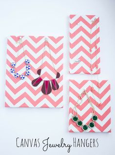 21 Chevron Home Decor Projects Diy Jewelry Holder, Jewelry Hanger, Diy Craft Projects, Diy And Crafts, Arts And Crafts, Pretty Necklaces, How To Make Necklaces, Chevron Home Decor, Necklace Hanger