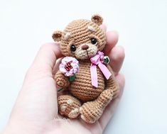 Crochet Bear Ravelry: Teddy bear Max pattern by Anastasia Kirs - The pattern contains 24 pages of instructional material accompanied by 87 photos. Crochet Teddy, Crochet Bear, Cute Crochet, Crochet Doll Pattern, Crochet Patterns Amigurumi, Crochet Dolls, Amigurumi Tutorial, Amigurumi Toys, Stuffed Animal Patterns