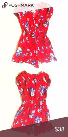 Mimi Chica Red Floral Cotton Romper! Super cute short sleeve and short jumper! Great condition! Elastic waist measures 24 inch waist, 34 inch bust, 28.5 inches long, 15 inches from waist to hem! Buttons along center front, great condition! Fits a size small! Mimi Chica Pants Jumpsuits & Rompers