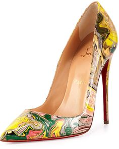 Christian Louboutin So Kate Marbled Red Sole Pump, Gray