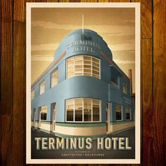 The streamline art deco Terminus Hotel in Abbotsford, is shown in this print with an original colour scheme, window/ door entries and exposed tapestry brick detail. Melbourne Victoria, Victoria Australia, Streamline Art, Melbourne Art, Brick Detail, Art Deco Pattern, Entry Doors, Vintage Advertisements, Windows And Doors