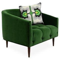 Check out this item at One Kings Lane! St. Barts Barrel Chair, Emerald Velvet
