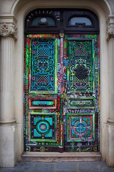 Love this crazy colorful door!