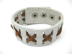 Shoply.com -Fashion white and brown leather bracelet cuff. Only $7.00