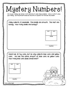 """Sample student page from """"MISSING ADDENDS {WRITTEN EQUATIONS & WORD PROBLEMS, GRADES 1-2}"""" - TeachersPayTeachers.com  (21 pages, $)"""