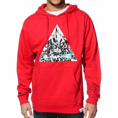 You won't ever want to take off the comfy fleece lined Diamond Supply Co Trillian red pullover hoodie.
