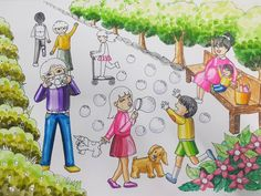사진 설명이 없습니다. Art Drawings For Kids, Drawing For Kids, Easy Drawings, Kids Class, Korean Art, Diy For Kids, Art Lessons, Illustration, Painting
