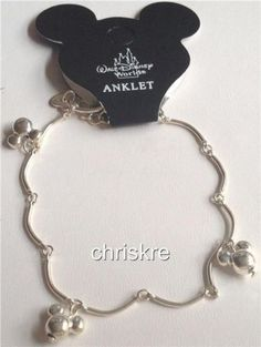 Disney Silver Plated  Mickey Mouse Charm Anklet or Bracelet  Mickey Ears Vintage Store Stock USASeller