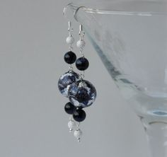 Murano glass, blue goldstone and silver earrings £25.00