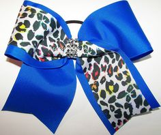 Cheetah Cheer Bow, Blue Leopard Hair Clip, Glitzy Electric Blue Cheer Bow, Leopard Blue Bow, Blue 7 Inch Bows, Sparkly Cheetah Softball Bows Sparkly Cheer Bows, Big Cheer Bows, Cheer Hair Bows, Blue Cheer, Softball Bows, Cheerleading Bows, Big Bows, Volleyball, Leopard Hair