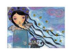 In Heaven with my Cat Angel   from  Painting by FLOR by FlorLarios, $15.00