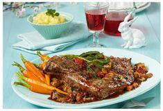 Osterbraten: Geschmorte Ochsenbrust mit Salbei, glacierten Karotten und Kartoffelpüree mit Olivenöl   Olivenöl Guide