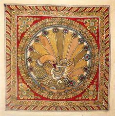 Kalamkari Painting of a Peacock, Andhra Pradesh, India Pichwai Paintings, Indian Art Paintings, Krishna Painting, Madhubani Painting, Krishna Art, Kalamkari Painting, Batik Art, Madhubani Art, Traditional Paintings