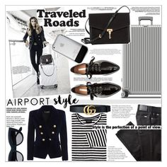 """AIRPORT STYLE"" by rinagq ❤ liked on Polyvore featuring Rimowa, Burberry, Whiteley, H&M, BRAX, Balmain and Anja"