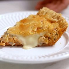 Recipe with video instructions: Chicken Pie recipe Ingredients: 9 oz flour, 9 oz cold unsalted butter, 1 teaspoon salt, 3 ⅔ tablespoons of water, 1 onion, cut into small cubes, 1 clove garlic, minced, 1 chicken breast cooked and shredded, 3 tablespoons tomato paste, Pinch of salt, 1 pinch of nutmeg, ½ bunch chopped parsley, 7 oz cream cheese, Olive oil