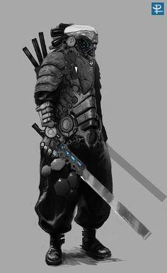 """""""kaiten: The Samurai Mode Cyberpunk, Cyberpunk Kunst, Arte Ninja, Arte Robot, Armor Concept, Concept Art, Character Concept, Character Art, Science Fiction"""