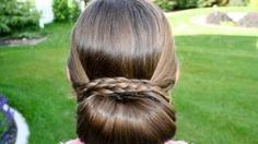 Braid-Wrapped Chignon | Updos | Cute Girls Hairstyles, via YouTube.