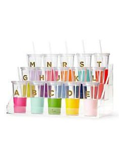 take your favorite iced elixir to go in our vibrant, monogrammed tumbler. the bpa-, phthalate-, and lead-free construction means you can sip without worry. Home Gifts, Diy Gifts, Kate Spade Tumbler, Girls Tumbler, Thing 1, Cute Cups, Personalized Tumblers, Gadget Gifts, Steampunk Diy
