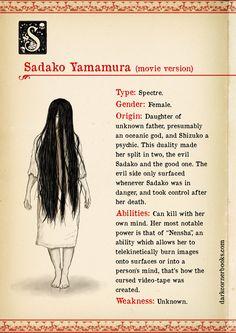 Dark Corner Monstruary - Sadako Yamamura by darkcornerbooks on DeviantArt Mythical Creatures Art, Mythological Creatures, Magical Creatures, Fantasy Creatures, Horror Villains, Creepy Facts, Scary, Japanese Folklore, Japanese Mythology