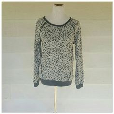 Long sleeve detailed top Super cute long sleeve detailed top. Measures 15 bust. 27 length. Oatmeal color lace and design on top of gray. bobeau Tops Sweatshirts & Hoodies