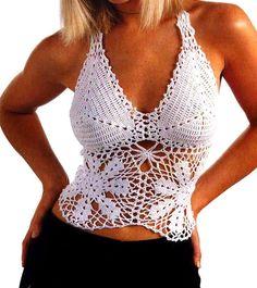 tejidos al crochet paso a paso con diagramas: Top en color blanco tejido en crochet