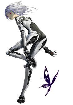 Render Cyborgs/Robots - Renders cyborg robot androide femme bionique combinaison futuriste cheveux vent yeux rouges artiste Redjuice by Meca MEChanicalAngel
