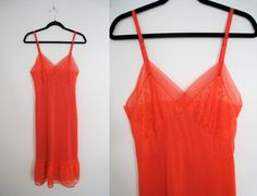 Vintage 1970s Red Ruffled Nightgown  Size by CutandChicVintage, $40.00