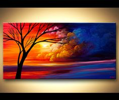 Abstract Landscape painting Original Tree painting by OsnatFineArt, $450.00
