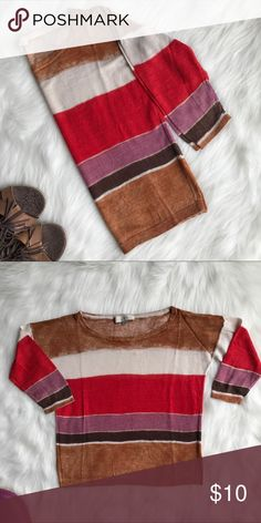 """Ann Taylor Loft Striped 3/4 Sleeves Top Loft Linen and Rayon blend top. Cute striped. 3/4 sleeves. Soft and comfy. Pit to pit - 19"""". Length- 19"""". LOFT Tops Tees - Long Sleeve"""