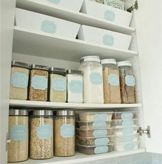 pantry, organized pantry, organized kitchen, organized home, home organization, home decor, jars, martha stewart, jars for kitchen, labeled jars, pantry storage, pantry organization