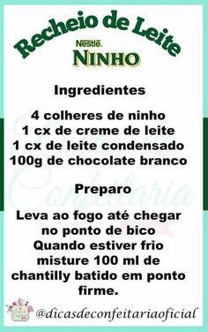 Ninho Best Dessert Recipes, Fun Desserts, Brazillian Food, Icing Frosting, Good Food, Yummy Food, Cake Boss, Mini Cakes, Party Cakes