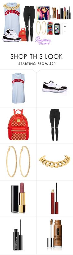 """Outfit#16"" by diamondslove ❤ liked on Polyvore featuring Concord, MCM, Topshop, Roberta Chiarella, Seaman Schepps, Chanel, Kevyn Aucoin, MAC Cosmetics and Apple"