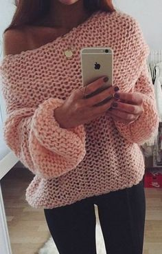 a4f888ce23 Outstanding Knit Sweater Winter 2016 Trending Fashion Look Pink Jumper